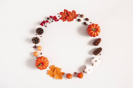 Autumn composition. Wreath made of pumpkins, flowers, leaves on gray background. Autumn, fall, halloween, thanksgiving day concept. Flat lay, top view, copy space 写真素材 - 128002951
