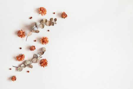 Autumn composition. Frame made of dried flowers, eucalyptus leaves, berries on gray background. Autumn, fall, thanksgiving day concept. Flat lay, top view, copy space 写真素材 - 128300988