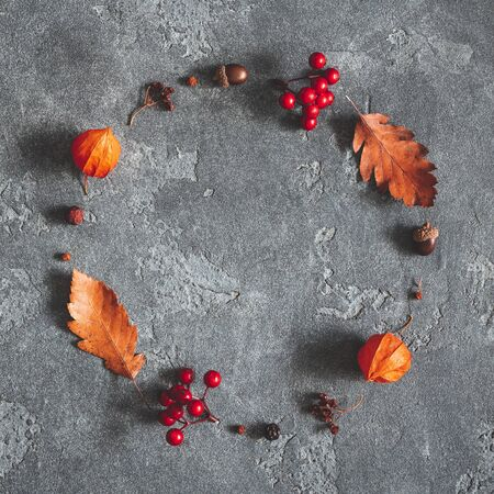 Autumn composition. Wreath made of autumn flowers, leaves, berries on black background. Flat lay, top view, copy space, square
