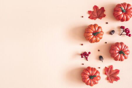 Autumn composition. Dried leaves, pumpkins, flowers, rowan berries on beige background. Autumn, fall, halloween, thanksgiving day concept. Flat lay, top view, copy space Stock Photo - 130793882