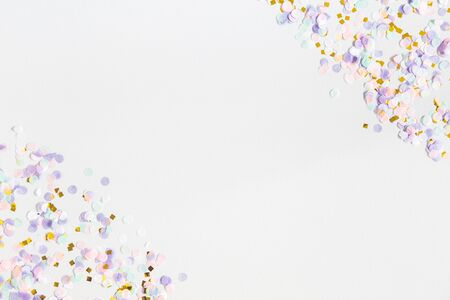 Unicorn festive background. Christmas, party, birthday, wedding, holiday concept. Flat lay, top view