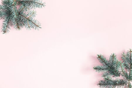 Christmas composition. Frame made of fir tree branches on pastel pink background. Christmas, winter, new year concept. Flat lay, top view, copy space