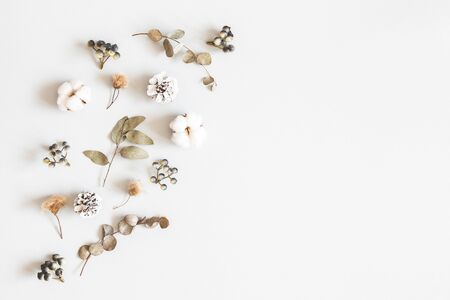 Winter composition. Dried leaves, cotton flowers, berries, pine cones on gray background. Autumn, fall, winter concept. Flat lay, top view, copy space Standard-Bild
