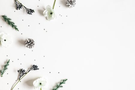 Christmas composition. Frame made of winter plants on white background. Christmas, winter concept. Flat lay, top view, copy space Zdjęcie Seryjne