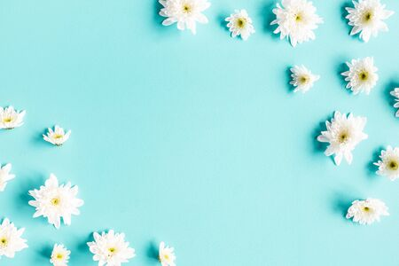 FlowersFlowers composition. White chrysanthemum flowers on blue background. Flat lay, top view, copy space composition. White chrysanthemum flowers on blue background. Flat lay, top view, copy space