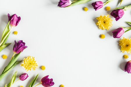 Flowers composition. Colorful flowers on gray background. Spring concept. Flat lay, top view, copy space