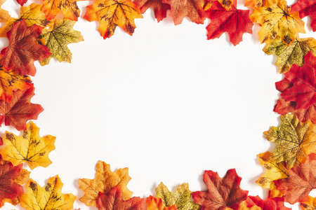 Autumn composition. Frame made of maple leaves on white background. Autumn, fall, thanksgiving day concept. Flat lay, top view, copy space Stock fotó - 152481461