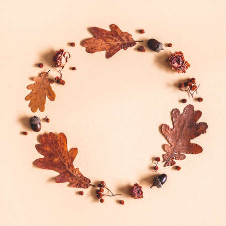 Autumn composition. Wreath made of oak leaves, flowers, acorns on beige background. Autumn, fall concept. Flat lay, top view Stock fotó - 152481966