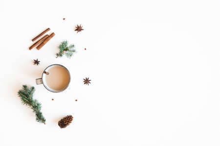Christmas composition. Cup of coffee, fir tree branches on white background. Christmas, winter, new year concept. Flat lay, top view Stock fotó