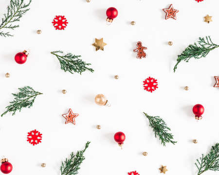 Christmas composition. Fir tree branches, decorations on white background. Christmas, winter, new year concept. Flat lay, top view Stock fotó - 158961654
