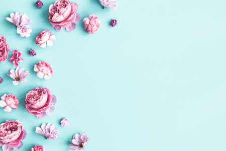 Flowers composition. Pink flowers on pastel blue background. Flat lay, top view 写真素材