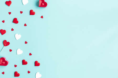 Valentine's Day background. Red hearts on white background. Valentines day concept. Flat lay, top view