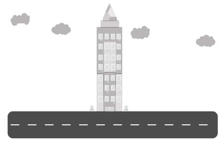 serves: tall skyscraper that serves as a business center Illustration