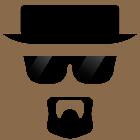 bearded man: silhouette of a bearded man with glasses