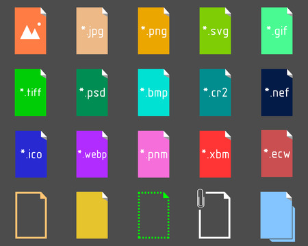 file extension: Set on the theme of Image File Extension Icons Illustration