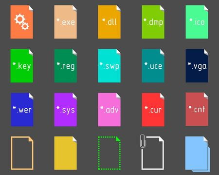 extension: Set on the theme of System File Extension Icons Illustration