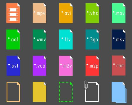 file extension: Set on the theme of Video File Extension Icons