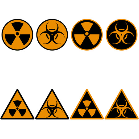 contamination: set of icons on the theme of radioactive contamination