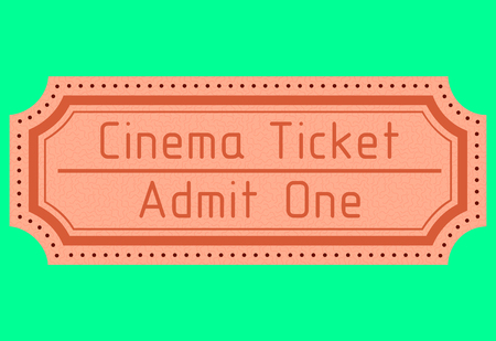 admit one: old movie ticket. admit one. vector image