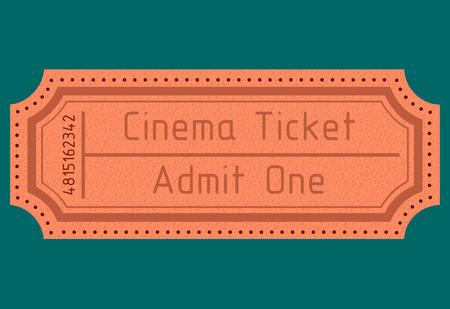 old movie: old movie ticket. admit one. vector image