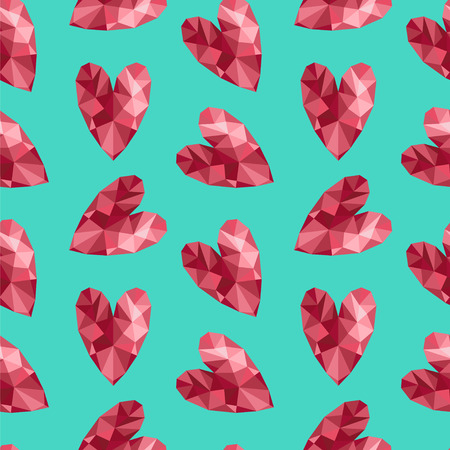 ruby: Seamless vector pattern with triangular hearts.