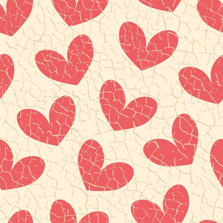 craquelure: Seamless vector pattern with craquelure hearts. Illustration
