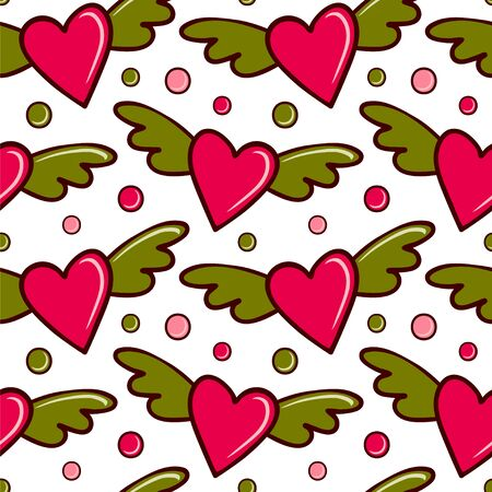 Seamless vector pattern with winged hearts. Illustration