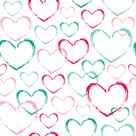 Seamless vector pattern with outline hearts. Illustration