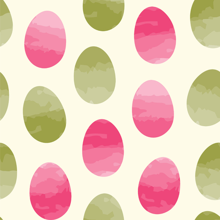 pattern: Easter eggs with watercolor effect. Seamless vector pattern.