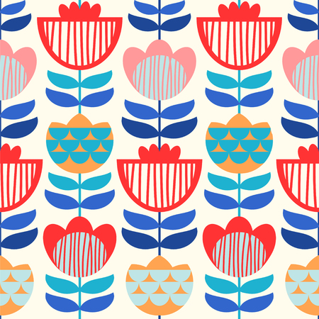 Seamless vector pattern with scandinavian flowers. Bright colors. 向量圖像