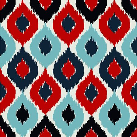 Seamless vector pattern with colorful ikat style.