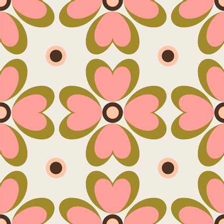 Seamless vector pattern with stylized flowers.