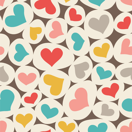 Ovals and hearts. Lovely seamless vector pattern. Retro colors.