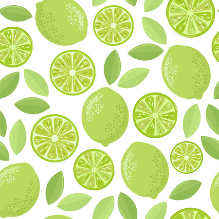 Cute limes. Seamless vector pattern.