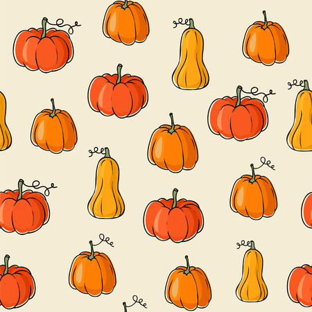 Seamless vector pattern with pumpkins and butternut squash. Vector Illustration