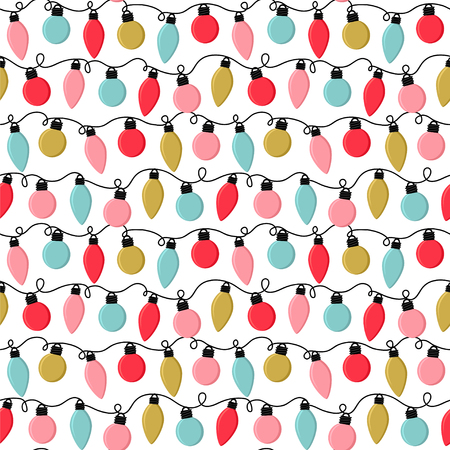 Seamless vector pattern with bright light bulbs.