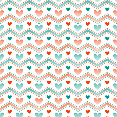 Seamless vector pattern. Chevron and hearts background with watercolor effect. Illustration