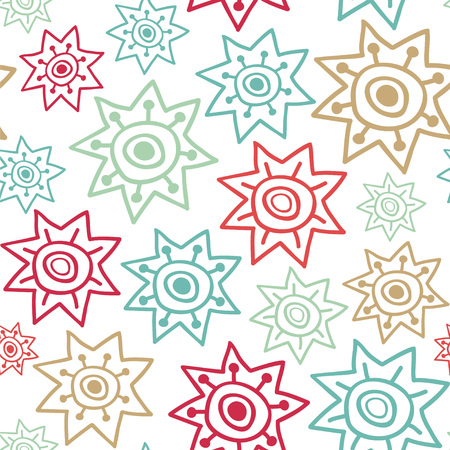 Stars in borderless,  repeated pattern in colorful illustration. Illustration