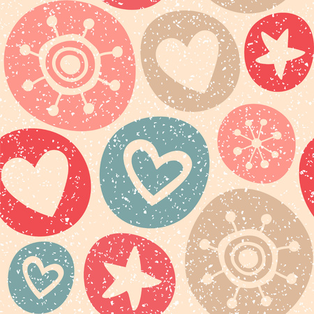 Seamless vector pattern with stars and hearts in the circles. Illustration