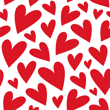 Red hearts. Abstract background. Seamless vector pattern with hearts.