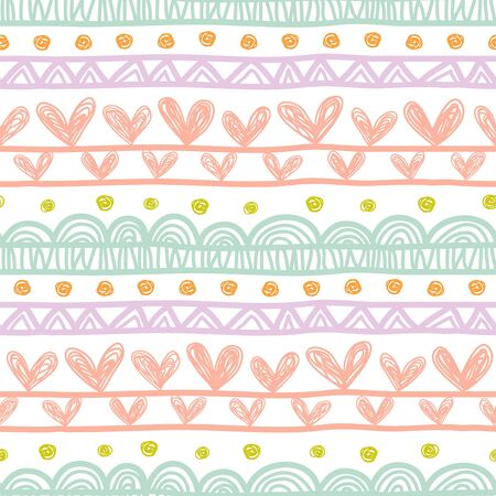 Seamless vector pattern with lines and hearts, imitating a child's drawing.