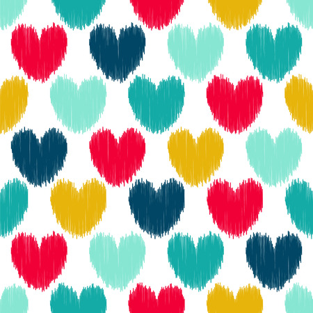 Seamless vector pattern with ikat bright hearts.