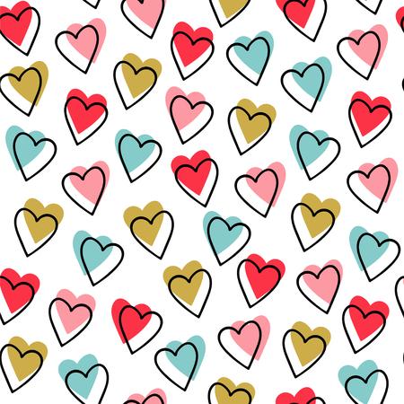 シームレスなパターン。ベクター抽象背景。白い背景に小さな青、ピンク、赤と黄色のハート。