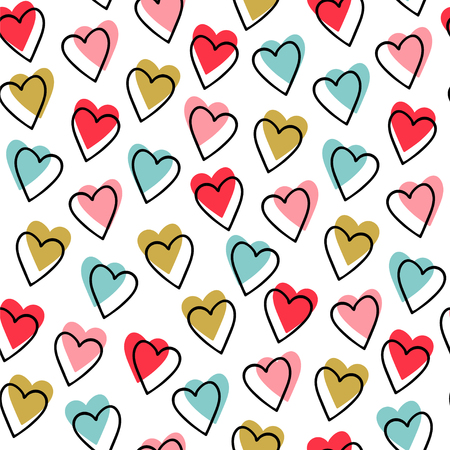 Seamless pattern. Vector abstract background. Small blue, pink, red and yellow hearts on white background. Vettoriali