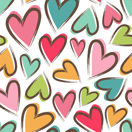 Seamless vector pattern with cute chaotic hearts.