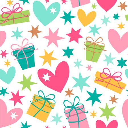 Sfondo luminoso con doni, cuore e stelle. Modello vettoriale senza soluzione di continuità. Vettoriali