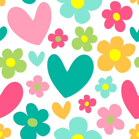 Cute background with hearts and flowers seamless vector pattern.