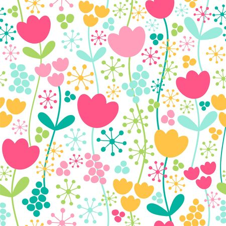 Seamless vector pattern with spring flowers in bright colors.