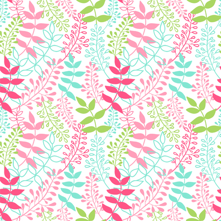 Spring meadow. Seamless vector pattern with leaves. Illustration