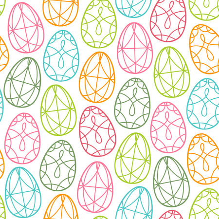 Seamless vector pattern with outlines eggs. Easter background.